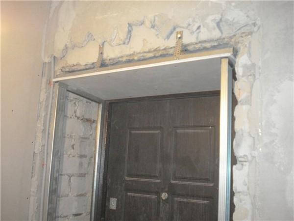 отделка откосов входных дверей гипсокартоном фото
