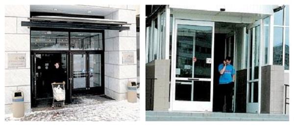 автоматические распашные двери фото