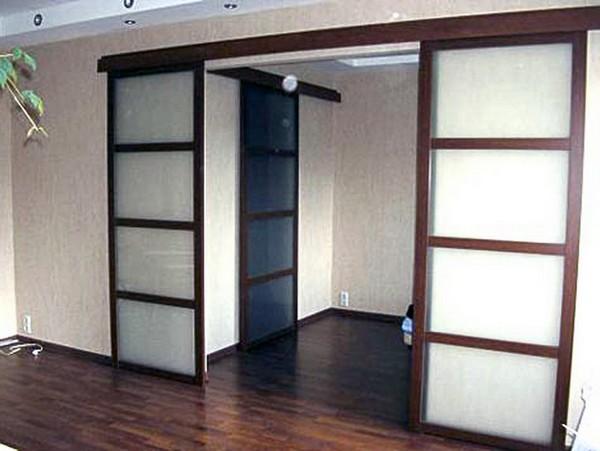 двойные раздвижные двери межкомнатные фото