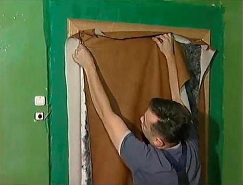 как обшить железную дверь дермантином своими руками фото
