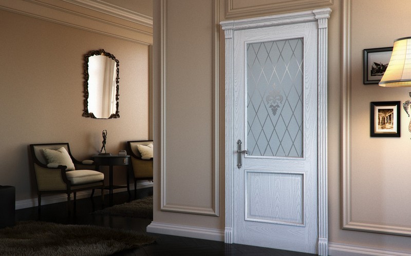 белые двери со стеклом фото