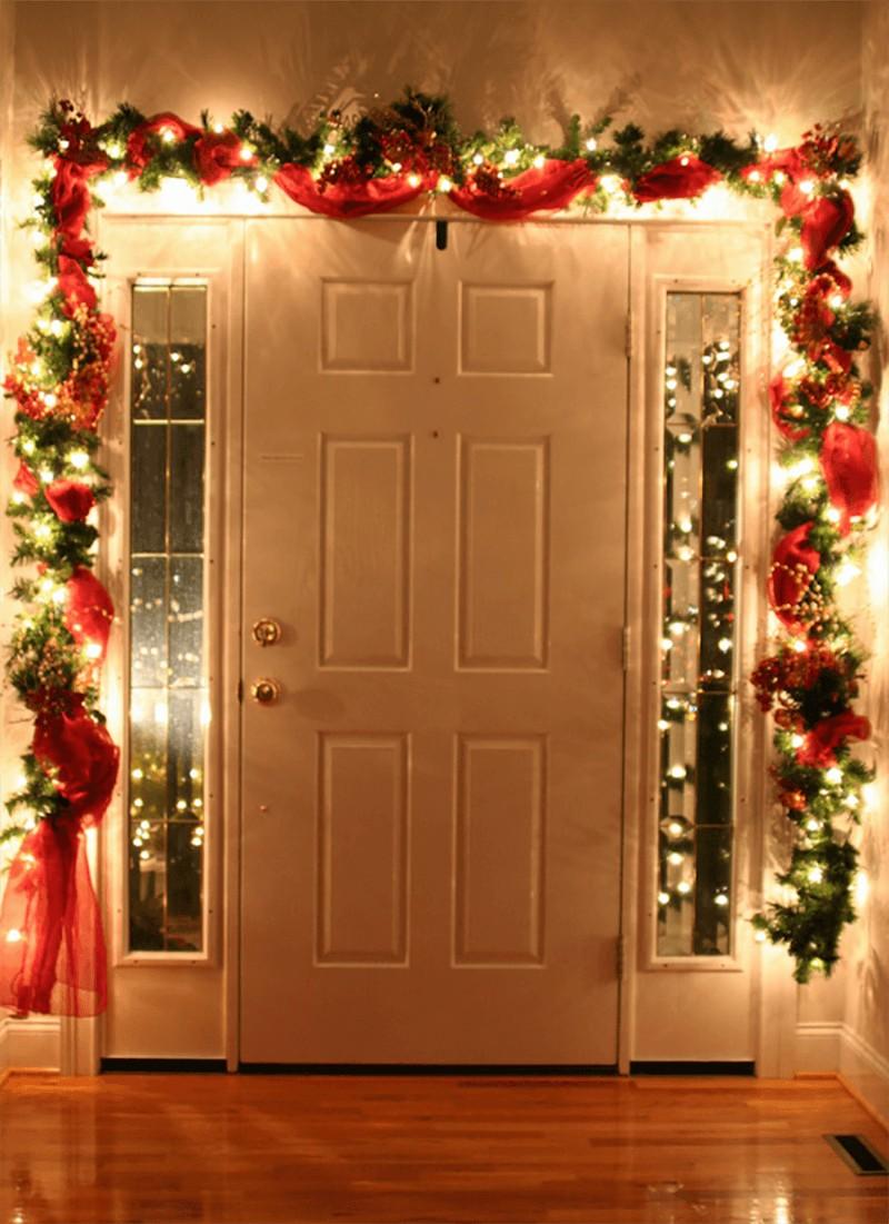 украшение двери на новый год фото