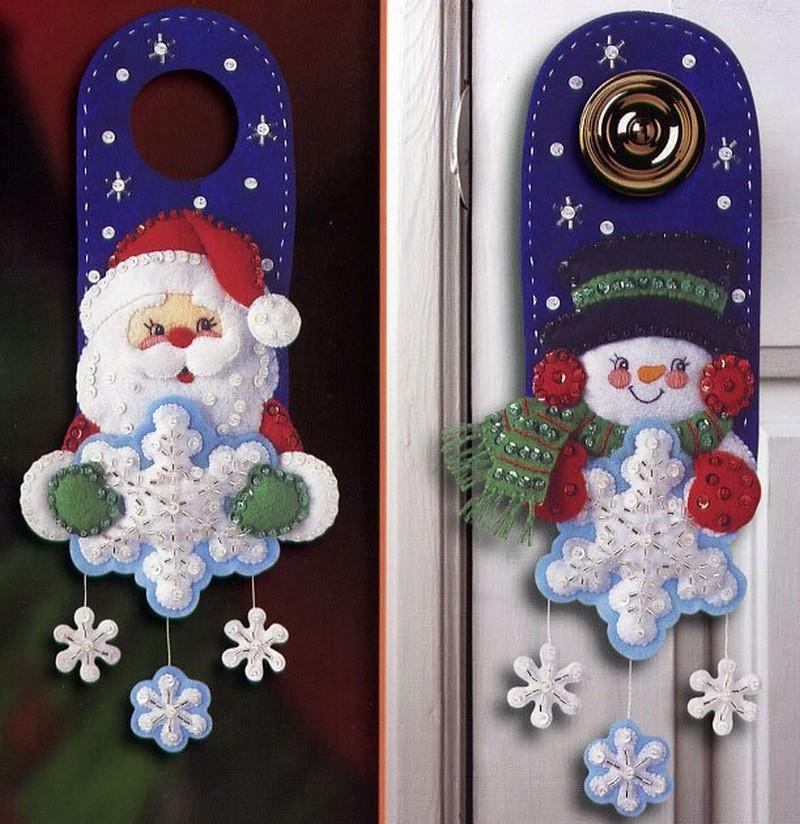 украшение ручки двери на новый год фото