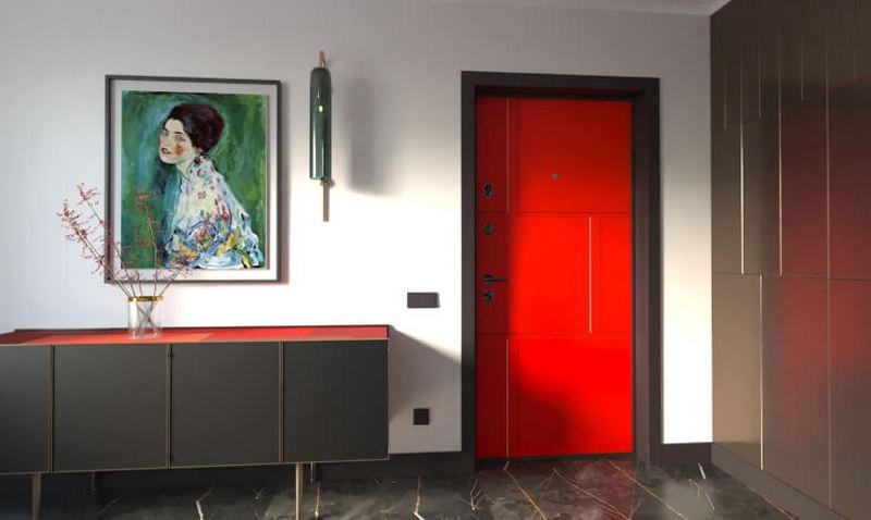 красная дверь в стиле хай тек фото