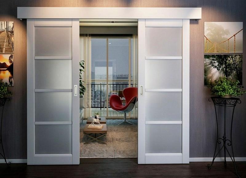стеклянные двери хай тек фото