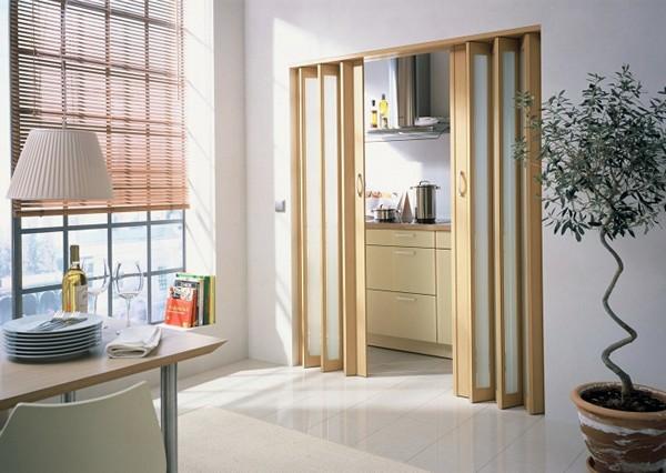 Деревянные двери гармошка фото