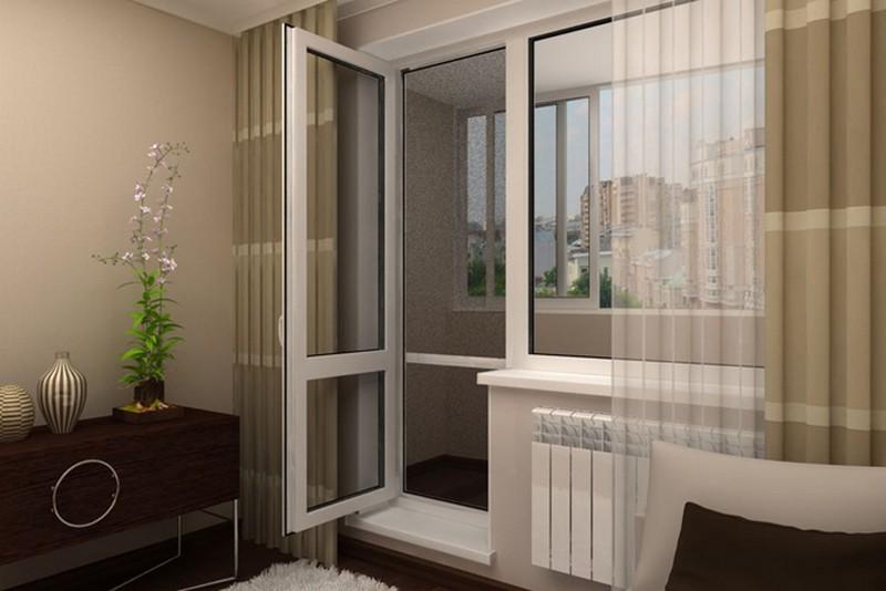 распашные балконные двери фото